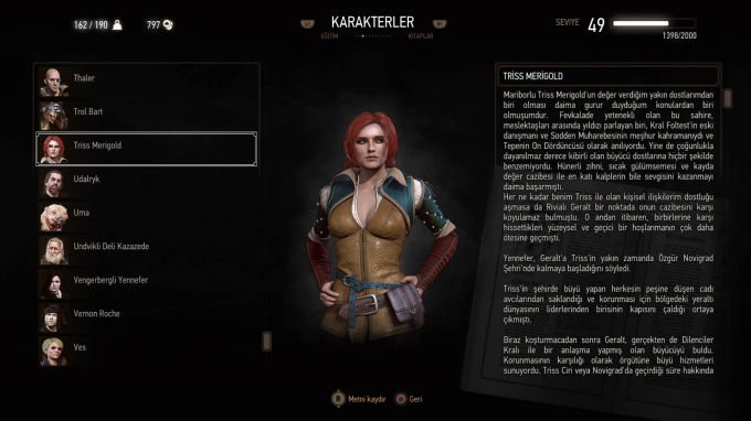The Witcher 3 Wild Hunt Triss Merigold